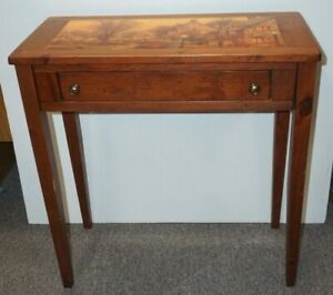 WOOD ACCENT or HALL TABLE w/DRAWER~Pretty Country Cottage Scene on Top~CAN SHIP!