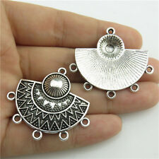 89808 10Pcs Antique Silver Alloy Totem Sun Pendant Chandlier Filigree Connector