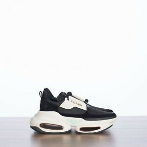 BALMAIN 850$ Black & White Leather And Suede B-Bold Low To Sneakers