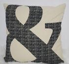 """Canvas Decorative Pillow 17""""x17"""" & Symbol Khaki Black Washable Zip Cover NWOT"""