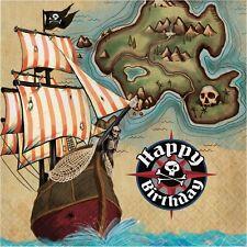 Pirate's Map Happy Birthday 33cm Paper Party Napkins   Serviettes Tissue 1-96pk