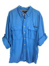 ExoFFicio Men Sz XL Fishing Shirt Light Blue Vented Button Front Long Tab Sleeve