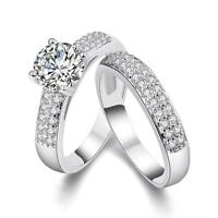 Silver Plated Stainless Steel Wedding Cubic Zircon Ring Engagement Ring Set 2PCS