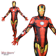 MENS IRON MAN ZAPPER SUPERHERO MORPHSUIT FANCY DRESS COSTUME