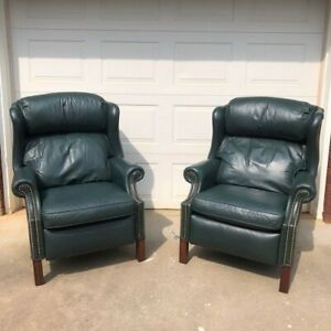 Bradington young leather studded recliners chairs living room green