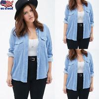 Plus Size Women Casual Denim Long Sleeve Tops Jean Button-Up Shirt Blouse Jacket