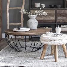 Couchtisch MADISON Ø 60 cm Teak Holz Metall rund Korb Beistelltisch Tisch