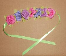 NWT Floral Headpiece Bun Wrap Ribbon Tie Pastels Ballet Dance Accessory Bunhead