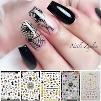 Halloween Rose Flower Leaves Nail Art 3D Stickers Transfer Stickers Decorations
