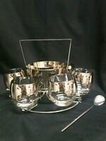 VINTAGE Dorothy Thorpe Style Silver Fade Set of 6 Glasses, Ice Bucket/Caddy MC