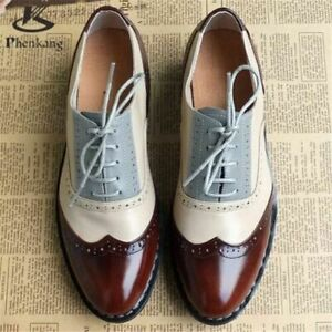 Brogue Style Shoes Leather Brown, White and Grey handmade bespoke three er