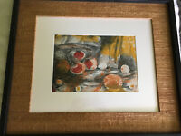Vintage Mid Century Abstract Mixed Media Still Life Fruit Painting Artwork Art