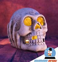 Totenkopf Skelett Schädel Skull Kerzenhalter Teelichthalter 16 cm groß NEU