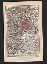 Landkarte city map 1909: UMGEBUNG VON WIEN. Österreich