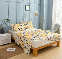 DaDa Bedding Mellow Yellow Fleur Daffodil Floral Fitted & Flat Bed Sheets Set