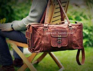 "20""Men's genuine Leather large vintage duffle travel gym weekend overnight bag"