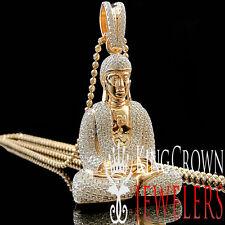 10K Rose Gold On Sterling Silver Lab Diamonds Meditating Buddha Pendant 2.25''