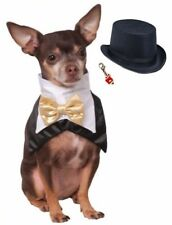 Holiday Costume for Dogs - Tuxedo Vest Bandana with Top Hat and Charm - Size S/M