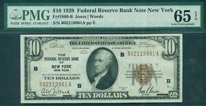 $10.00 FRBN – New York, 1929, Fr. #1860B, PMG Grade 65EPQ Gem UNC