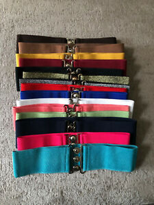 Vintage Retro Elasticated Wide Cinch Hourglass Stretch Belt One Size Fits 8 - 18