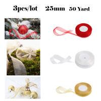 """3 Colors 50 Yard Woven Edge Sheer Organza Ribbon  Set Craft Sewing 25mm/ 1"""""""
