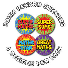 144 X matematica riconoscimenti - 30mm Bambini Adesivi Ricompensa: scuole, insegnanti - 4 Designs