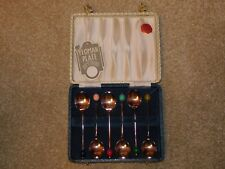 YEOMAN PLATE COFFEE SPOONS WITH MULTICOLOURED FAUX COFFEE BEAN FINIALS x 6 CASED