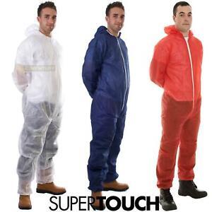 Disposable Coveralls Boilersuit White Blue Painters Protective Overalls Suit
