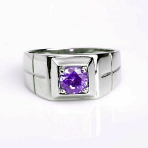 Natural Amethyst Gemstone 14K Solid White Gold Men's Ring Jewelry
