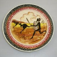 GUY BOYD HANDPAINTED PLATE DECORATED  WITH INDIGENOUS HUNTING SCENE