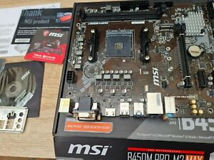 MSI B450M Pro-M2 Max AMD AM4 DDR4 M2 Motherboard. Boxed with accessories. Tested