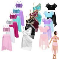 Girls Kids Two-piece Lyrical Dress Sequins Ballet Dance Gymnastics Stage Costume