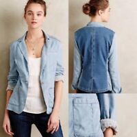 Pilcro and the Letterpress Anthropologie Newsy Chambray Blazer Jacket Blue Sz M