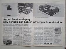 3/1972 PUB SOLAR GAS TURBINE POWER PLANT GENERATOR USAF ARMY ORIGINAL AD