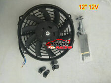 """12"""" 12V PULL PUSH RADIATOR ELECTRIC SLIM THERMO CURVED BLADE COOLING FAN KIT"""