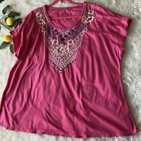 Johnny Was Pink Embroidered Cotton Dolman Short Sleeve Tee Top Womens Plus Sz 2X