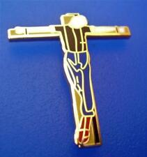 SKINHEAD SKA REGGAE BADGE - CRUCIFIED SKINHEAD ON CROSS