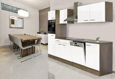 respekta Einbau Küche Küchenzeile Küchenblock 280 cm Eiche York weiß Seidenglanz