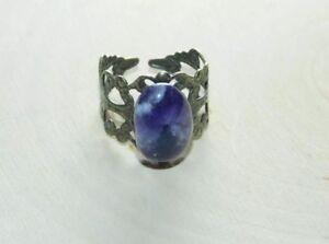 Natural Amethyst Crystal Handmade Adjustable Ring Antique Bronze Adjustable Ring