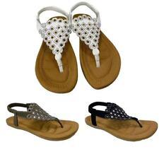Women Lady T-Strap Thong Flat Sandals SummerFlip Flops Elastic Band Shoes Size