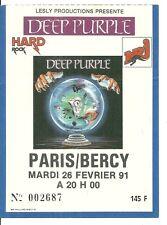 RARE / TICKET DE CONCERT - DEEP PURPLE : LIVE A PARIS ( FRANCE) 1991