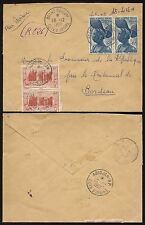 FRENCH IVORY COAST REGISTERED BOXED MANUSCRIPT 1952 AIRMAIL...RP CANCELS