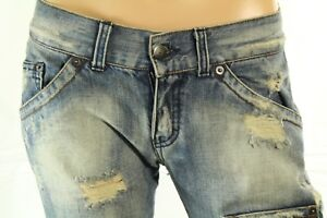 Sexy Woman's Jeans Mid Rise Distressed Cropped Flap Pocket Size 29