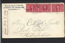 PLATTSBURGH, NEW YORK 1904,#324 (3) COVER TO PUERTO PLATA,WEST INDIES.