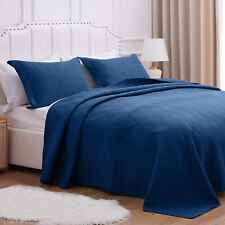 3pcs Embossed Soft Bedspread Quilt Coverlet Bed Set Reversible Oversize Quilted