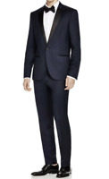 Hugo Boss Astiane Guabello Super 130 Wool Silk Lapels 1-BTN Slim Tuxedo 40 R New