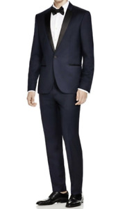 Hugo Boss Astiane Guabello Super 130 Wool Silk Lapels 1-BTN Slim Tuxedo 40 R New