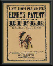 1870s Henry's Repeating Rifle Advertisement Reprint On 100 Year Old Paper 116