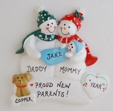 Personalized Snowman Family of 3 w/ Baby and Dog Christmas Ornament