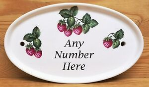Strawberries Painted Effect Oval Horizontal Ceramic House Door Number Plaque